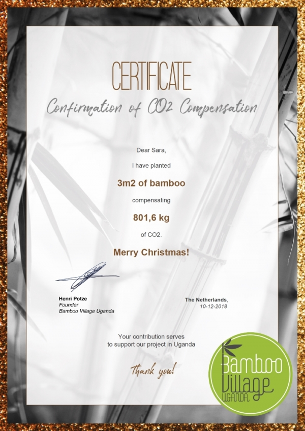 Bamboo Village Uganda Christmas Gift certificate example small